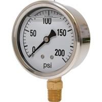 0-200 PSI Liquid Filled Pressure Gauge