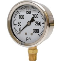 0-300 PSI Liquid Filled Pressure Gauge