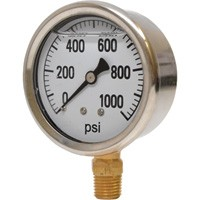 0-1000 PSI Liquid Filled Pressure Gauge
