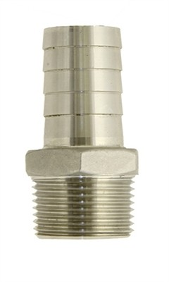 """1"""" MPT X 1"""" Hose Barb Stainless Steel"""